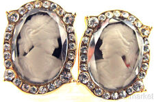 Vintage Style Lady CAMEO Crystal POST Earrings