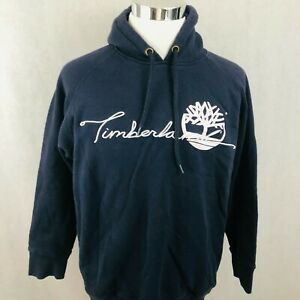 Timberland Hoodie Medium Navy Blue Vintage Puff Logo Spell Out Pullover Sweater