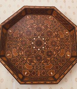 Vintage  Handmade  Original Mosaic Wooden Tray & Wall Plate Decorative Home