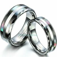 8mm/6mm Comfort Fit Tungsten Ring Black Double Shell Inlaid Couple Wedding Band