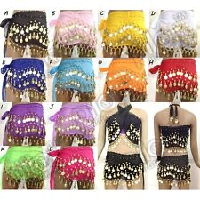 12 Colors choose 3 Rows Belly Dance Skirt Scarf Hip Wrap Belt Gold Silver Coins