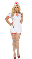 Sexy Head Nurse Zip Front Mini Dress Hospital Costume Set Adult Women Plus Size