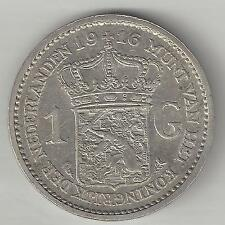 NETHERLANDS,  1916,  1 GULDEN,  SILVER,  ALMOST UNCIRCULATED,  KM#148,  Y#42