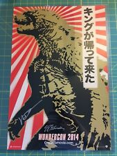WONDERCON GODZILLA Signed POSTER DIRECTOR Gareth Edwards Rising Sun Flag