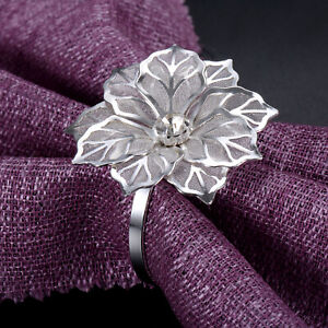 24Pcs Silver Flower Napkin Rings Serviette Holder Dinner Wedding Festival Decor