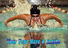 PERSONALISED FEMALE SWIMMER SWIMMING WATER SPORT BIRTHDAY ANY OCCASION CARD
