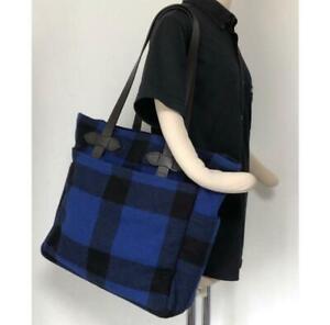 Filson McKino Tote Bag Buffalo Check Wool Blue in Good Condition Vintage #M3571