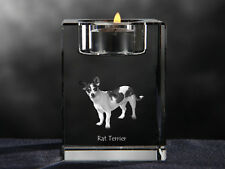 Rat Terrier, crystal candlestick with dog, souvenir, Crystal Animals Ca