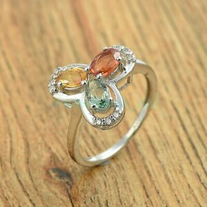 Oval Cut Multi Sapphire Gemstone 925 Sterling Silver Floral Ring Size US 4-8