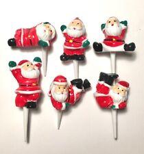 Santa Cake Toppers Mini Plastic Father Christmas Yule Log Cupcake Decoration