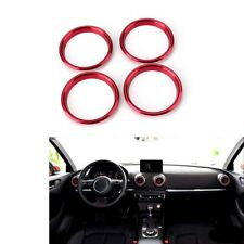 Air Vent Outlet Interior Dashboard 4x Red A/C Trim Ring Cover for Audi A3 S3