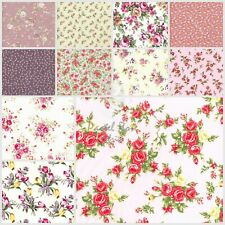 Classic Vintage Floral Roses 100% COTTON Poplin Fabric | Half Metre increments