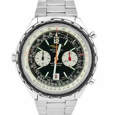 Vintage Breitling Navitimer Cronógrafo Negro Reloj De Acero Inoxidable 1806 48mm