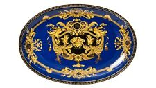 Euro Porcelain Blue Oval Serving Platter Tray Greek Key Medusa - 24K Bone China