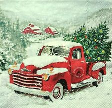 4 Lunch Paper Napkins for Decoupage Craft Vintage Napkin Christmas Truck, Car