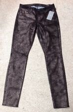 7FORALLMANKIND WOMENS CRACKLING LEATHER JEANS BLL/GOLD SZ 27