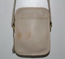 Coach Off White Cream Leather Shoulder Camera Bag Crossbody USA Vintage #9973