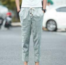 Japanese Linen Capri Solid Color Men's Casual Pants Plus Size M-5XL Breathable