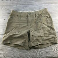 The North Face Womens Bermuda Shorts Size 8 tan Logo Hiking Nylon