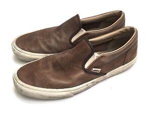 Vans Brown Leather Slip Ons Men's 10.5, Womens 12