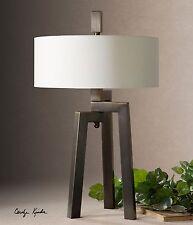 Bronze Geometric Tripod Table Lamp | Modern Contemporary Iron