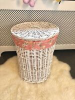 Large Round Willow Wicker Laundry Basket With Lid Lining Washing Bin Hamper