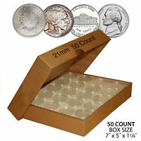 50 NICKEL Direct-Fit Airtight 21mm Coin Capsule Holder NICKELS (QTY: 50) w/ BOX