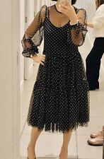 BNWT H&M Black Spot Flock Print Mesh Midi Maxi Dress Size Medium Sold Out