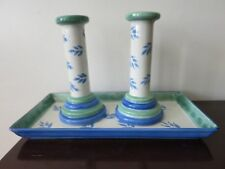 Pair of Villeroy and Boch American Switch 3 Ceramic Candlesticks & Tray Portugal