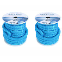 2 Pack Blue 3/4 Inch 50 FT Double Braid Nylon Dock Lines Dockline Mooring Rope