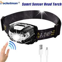 LED HeadLamp Motion Sensor 50000LM USB Rechargeable headlight 5 Modes Flashlight