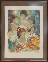GROUP OF GIRLS. LITHOGRAPHY ON PAPER. EMILI GRAU SALA. TWENTIETH CENTURY.