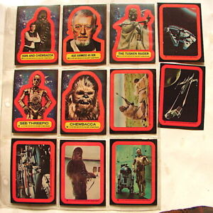 Star Wars trading cards set series 2 Topps stickers complete set 12-22 red   221