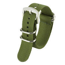 20/22/24mm Nylon Silver 316L Steel Pin Buckle Wrist Watch Strap Band Replacement