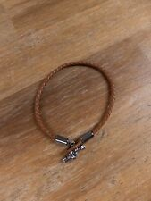 BOTTEGA VENETA brown intrecciato leather bracelet w silver hardware -Size Medium