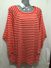 Viscose 3/4 Sleeve Striped Plus Size Tops for Women