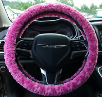 NEW HOT PINK FUZZY SOFT SWIRLS STEERING WHEEL COVER MADE IN THE USA!