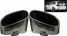 Double Chrome Exhaust Pipe Muffler Tip Stainless Steel Fits BMW X5 E70 F15 NEW