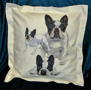 Hand crafted French Bulldogs cushion cover