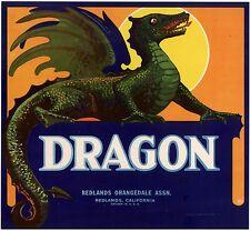 Mythological Dragon~Original 1930s Redlands California Orange Fruit Crate Label