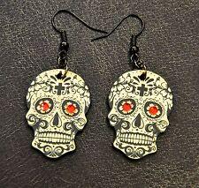 Sugar Skull Day of the Dead Dia de los Muertos Laser Cut Tattoo earrings GOLD