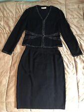 St John Evening Knit Skirt Suit Black Pailettes Size 10/12
