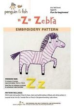 Z is for Zebra embroidery pattern by Penguin Fish FREE SHIPPING