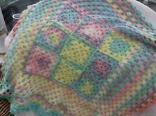 "Hand made multi colours crochet comfort babies shawl/blanket 29""x 29 """