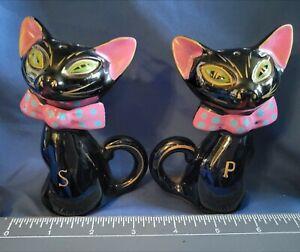 Vintage Black Siamese Cat Redware Pottery Salt & Pepper Shakers JAPAN -SHAFFORD?