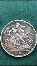 Queen Victoria 1890 Crown .925 Sterling Silver Crown Coin