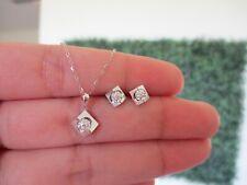 .06 CTW Diamond Necklace&Earrings Set 18k White Gold JS51W sep