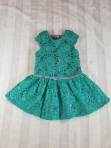 Girls Disney Princess Fancy Ariel Little Mermaid Green Lace Purple Satin Dress 2