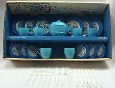 Vtg Shirt Tales Ohio Art Tin Tea Set 34 Pieces Cups Saucers Plates Utensils Box