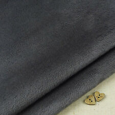 Ash Grey Smooth Cuddle Soft Fur Fabric / quilting fleece charcoal teddy toy bear